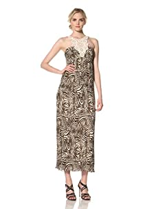 Muse Women's Lace Neck Crinkle Maxi Dress (Brown/Multi)