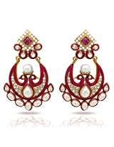 Donna Traditional Ethnic Gold Plated Pearly Peacock Dangler Earrings with Crystals & Pearl For Women ER30034GPin