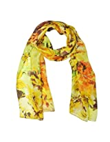 Wrapables Luxurious 100% Charmeuse Silk Long Scarf, Golden Bloom Yellow