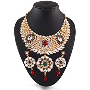 Red & Green Party Wear Necklace Set Studded with Kundan and Stones by Variation