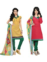 Inaaya Collections Coton printed dress Mustard:Red colored 2 in 1 dress material