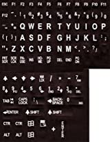 Large Print Key-Top English Keyboard Stickers for Computers Non-Transparent White on Black..