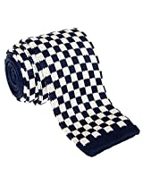 "Retreez Vintage Smart Casual Classic Check Men's 2.4"" Skinny Knit Tie - Navy Blue and White"