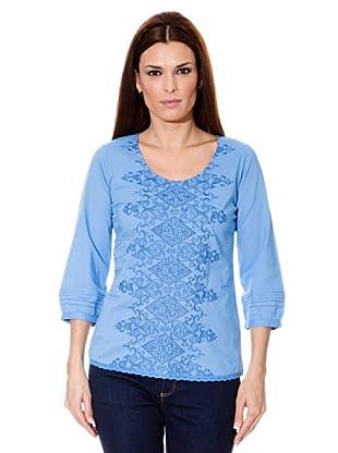 Cortefiel Bluse Bestickt (Blau)