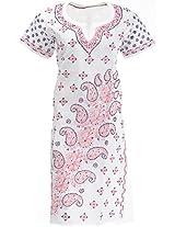 Lucknow Chikan Industry Women's Cotton Straight Kurta (LCI-372, White, M)