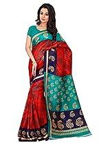 Silk Bazar Women's Tassar Silk Saree with Blouse Piece (Red & Green)