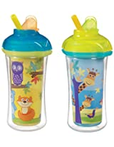 Munchkin Click Lock Insulated Straw Cup, 9 Ounce, 2 Count (Giraffe/Forest)