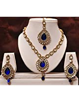 Dark blue kundan necklace set