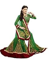 SareeStudio Green Wedding Wear Lehenga Embroidered Stone Velvet Border Work Net Viscose