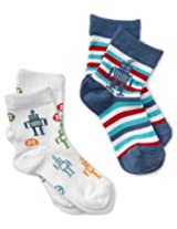 Country Kids Boys' Robot 2 Pair Socks