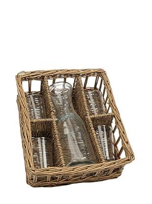 Jolipa Cesta Botella con 4 Vasos