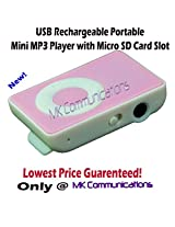 MK Communications Mfd -USB Rechargeable Portable Mini MP3 Player with Micro SD/TF Card Slot - Pink/Green/Red/Blue