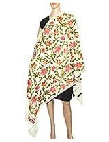 Indian Fashion Guru, White, gift, designer woolen shawls, stoles, Flower design, Embroidery shawls