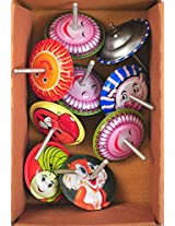 Pack of 10 spring loaded jumping spinning tops vintage Party bag fillers Favors