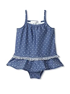 TroiZenfantS Girl's Dotted Swimsuit (Blue/White)