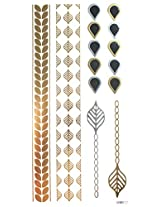 Spestyle Non Toxic And Waterproof Golden Gold & Silver & Black Metallic Temporary Tattoo Sticker Jewelry Fashion Design