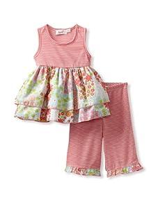 Jupon Baby Blair Tunic & Pants Set (Coral/Aqua)
