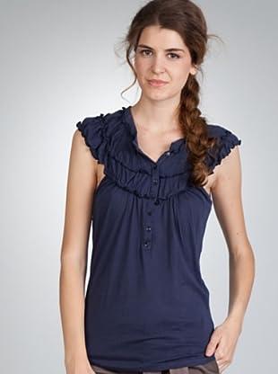 Naf Naf Camiseta Botones (azul marino)
