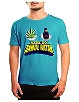 Bushirt Men's Round Neck Cotton T-Shirt (DN00134 - Anmol Ratan_Blue_XX-Large)