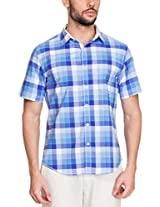 Zovi Cotton Slim Fit Casual Blue and White Checkered Shirt(11894200801_Small)
