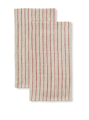 Found Object Le Havre Set of 2 Linen/Cotton Kitchen Towels, Red/Khaki