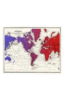 "World Gradient Map, Red/Purple/Blue, 32"" x 40"""