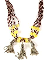 Exotic India Garnet and Yellow Chalcedony Beaded Necklace with Sterling Showers - Sterling Silver
