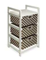 Badger Basket Lightweight Three Drawer Hamper/Storage Unit, Brown Dot