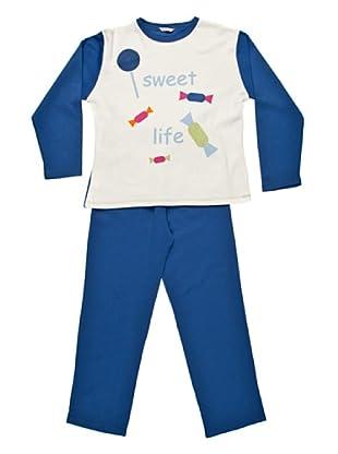 Bkb Pijama Niña Cuello Redondo Estampado (Azul)