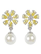 Beautiful Silver Plated Floral Design Yellow Color Fashion Earrings For Girls Exclusive Jewelry