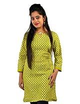 Ethnic Green Printed Light Green Cotton Top Green Girls Kurti SKU DLI3KUR540