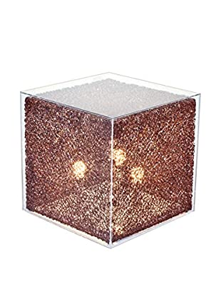 Illuminated Décor 3-Light Cube Stand With Acrylic Cover, Coffee/Clear