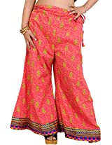 Exotic India Palazzo Pants from Pilkhuwa with Printed Paisleys and Patch Border - Color HoneysuckleGarment Size Free Size