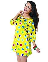 Garden Vareli Womens Satin Column Dress (Gardenvareli Western Dress 1022-B _Yellow _Large)