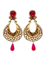 Hyderabadi Abhushan earrings with gold and pink color