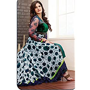 zareen khan Green printed georgette semi stitched anarkali salwar suit SHPH9 1099