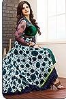 Zarine Khan Green, White & Blue Georgette Top With Santoon Bottom & Chiffon Dupatta Embroidery & Print Work Anarkali Salwar Suit Set