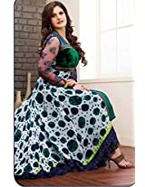 Zarine Khan Suit -Off White and Green Faux Georgette and Velvet...