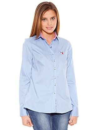 Polo Club Camisa Manga Larga Señora Entallada Lisa (Azul)