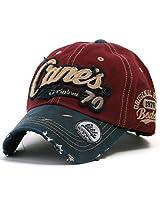 ililily Distressed Vintage Cotton embroidered Baseball Cap Snapback Trucker Hat Wine AD