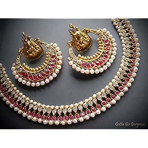 Beautiful Pink Ramleela Necklace & Earrings Combo Set