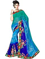 Shree Bahuchar Creation Women's Chiffon Saree(Skb50, Royal Blue)