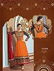 Lara Dutta Orange Designer Neck Floor Touch Anarkali Suit