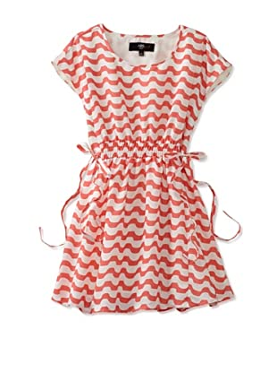 ABS Kids Girl's Dress with Wavy Scallop Stripe (Coral)