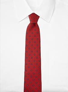 Aquascutum Men's Mini Flower Silk Tie (Red/Navy)