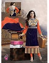 VandV Ayesha Takia Blue Heavy Embroidery Neck Salwar Kameez
