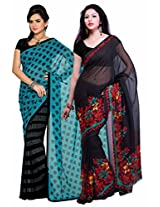 AISHA Printed Fashion Machine Georgette Multicolor Sari (Pack of 2)