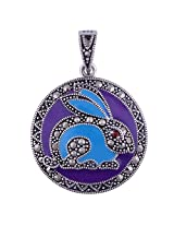 Silver Prince 6.8 Grm Bestseller Marcasite, Garnet, Onyx, Turquoise 925 Silver Pendant