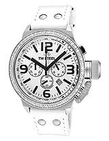 Men'S Canteen Chronograph White Zirkonias White Dial White Leather (Tw10)