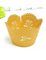 12PCS Roses Pearl Paper Cake Surrounding Edge Baking Cup(Color:Gold)